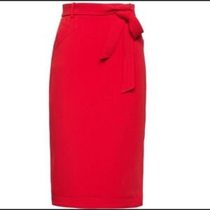Dresses & Skirts - Red Petite Belted Pencil Skirt w/Side Slit